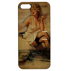 Vintage Newspaper Print Sexy Hot Gil Elvgren Pin Up Girl Paris Eiffel Tower Apple Iphone 5 Hardshell Case With Stand