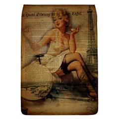 Vintage Newspaper Print Sexy Hot Gil Elvgren Pin Up Girl Paris Eiffel Tower Removable Flap Cover (Large)