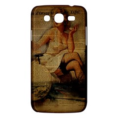 Vintage Newspaper Print Sexy Hot Gil Elvgren Pin Up Girl Paris Eiffel Tower Samsung Galaxy Mega 5 8 I9152 Hardshell Case