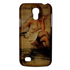 Vintage Newspaper Print Sexy Hot Gil Elvgren Pin Up Girl Paris Eiffel Tower Samsung Galaxy S4 Mini Hardshell Case