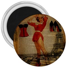 Vintage Newspaper Print Sexy Hot Gil Elvgren Pin Up Girl Paris Eiffel Tower Western Country Naughty  3  Button Magnet