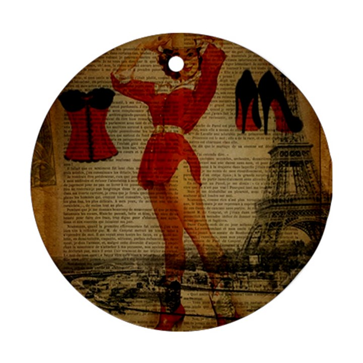 Vintage Newspaper Print Sexy Hot Gil Elvgren Pin Up Girl Paris Eiffel Tower Western Country Naughty  Round Ornament