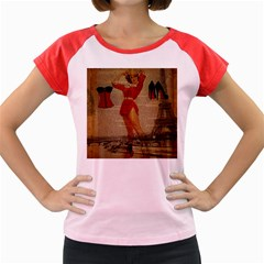 Vintage Newspaper Print Sexy Hot Gil Elvgren Pin Up Girl Paris Eiffel Tower Western Country Naughty  Women s Cap Sleeve T-Shirt (Colored)