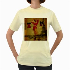 Vintage Newspaper Print Sexy Hot Gil Elvgren Pin Up Girl Paris Eiffel Tower Western Country Naughty   Womens  T-shirt (Yellow)