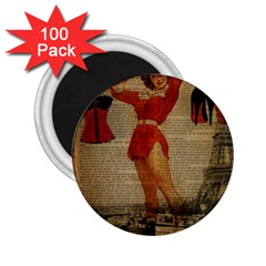 Vintage Newspaper Print Sexy Hot Gil Elvgren Pin Up Girl Paris Eiffel Tower Western Country Naughty  2 25  Button Magnet (100 Pack)