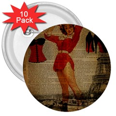 Vintage Newspaper Print Sexy Hot Gil Elvgren Pin Up Girl Paris Eiffel Tower Western Country Naughty  3  Button (10 Pack)