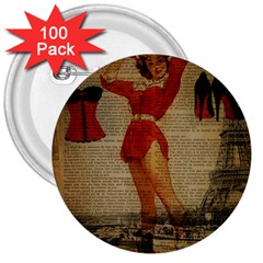 Vintage Newspaper Print Sexy Hot Gil Elvgren Pin Up Girl Paris Eiffel Tower Western Country Naughty  3  Button (100 pack)