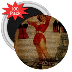 Vintage Newspaper Print Sexy Hot Gil Elvgren Pin Up Girl Paris Eiffel Tower Western Country Naughty  3  Button Magnet (100 pack)