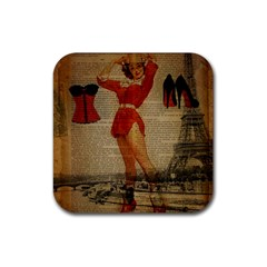 Vintage Newspaper Print Sexy Hot Gil Elvgren Pin Up Girl Paris Eiffel Tower Western Country Naughty  Drink Coaster (Square)