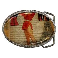 Vintage Newspaper Print Sexy Hot Gil Elvgren Pin Up Girl Paris Eiffel Tower Western Country Naughty  Belt Buckle (oval)