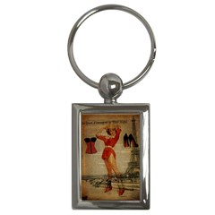 Vintage Newspaper Print Sexy Hot Gil Elvgren Pin Up Girl Paris Eiffel Tower Western Country Naughty  Key Chain (rectangle)