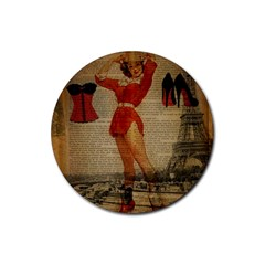 Vintage Newspaper Print Sexy Hot Gil Elvgren Pin Up Girl Paris Eiffel Tower Western Country Naughty  Drink Coasters 4 Pack (Round)