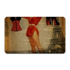 Vintage Newspaper Print Sexy Hot Gil Elvgren Pin Up Girl Paris Eiffel Tower Western Country Naughty  Magnet (rectangular)