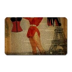 Vintage Newspaper Print Sexy Hot Gil Elvgren Pin Up Girl Paris Eiffel Tower Western Country Naughty  Magnet (Rectangular)