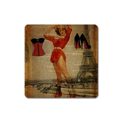 Vintage Newspaper Print Sexy Hot Gil Elvgren Pin Up Girl Paris Eiffel Tower Western Country Naughty  Magnet (square)