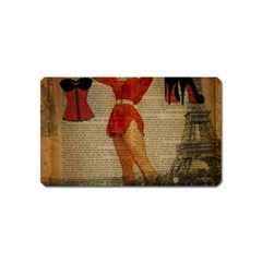 Vintage Newspaper Print Sexy Hot Gil Elvgren Pin Up Girl Paris Eiffel Tower Western Country Naughty  Magnet (Name Card)