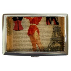 Vintage Newspaper Print Sexy Hot Gil Elvgren Pin Up Girl Paris Eiffel Tower Western Country Naughty  Cigarette Money Case