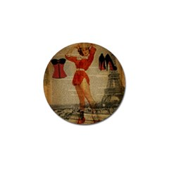 Vintage Newspaper Print Sexy Hot Gil Elvgren Pin Up Girl Paris Eiffel Tower Western Country Naughty  Golf Ball Marker