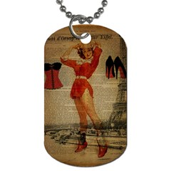 Vintage Newspaper Print Sexy Hot Gil Elvgren Pin Up Girl Paris Eiffel Tower Western Country Naughty  Dog Tag (Two-sided)