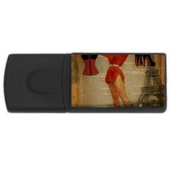 Vintage Newspaper Print Sexy Hot Gil Elvgren Pin Up Girl Paris Eiffel Tower Western Country Naughty  2GB USB Flash Drive (Rectangle)