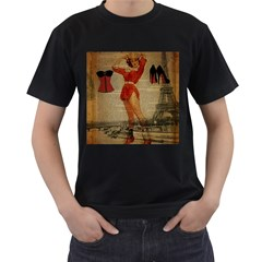 Vintage Newspaper Print Sexy Hot Gil Elvgren Pin Up Girl Paris Eiffel Tower Western Country Naughty  Mens' Two Sided T-shirt (Black)