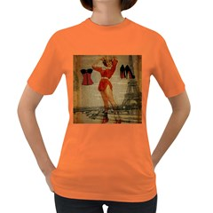 Vintage Newspaper Print Sexy Hot Gil Elvgren Pin Up Girl Paris Eiffel Tower Western Country Naughty  Womens' T Shirt (colored)