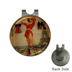 Vintage Newspaper Print Sexy Hot Gil Elvgren Pin Up Girl Paris Eiffel Tower Western Country Naughty  Hat Clip With Golf Ball Marker