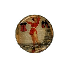 Vintage Newspaper Print Sexy Hot Gil Elvgren Pin Up Girl Paris Eiffel Tower Western Country Naughty  Golf Ball Marker (for Hat Clip)