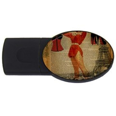 Vintage Newspaper Print Sexy Hot Gil Elvgren Pin Up Girl Paris Eiffel Tower Western Country Naughty  4GB USB Flash Drive (Oval)