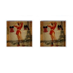 Vintage Newspaper Print Sexy Hot Gil Elvgren Pin Up Girl Paris Eiffel Tower Western Country Naughty  Cufflinks (square)