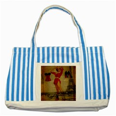 Vintage Newspaper Print Sexy Hot Gil Elvgren Pin Up Girl Paris Eiffel Tower Western Country Naughty  Blue Striped Tote Bag