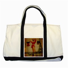 Vintage Newspaper Print Sexy Hot Gil Elvgren Pin Up Girl Paris Eiffel Tower Western Country Naughty  Two Toned Tote Bag