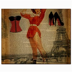 Vintage Newspaper Print Sexy Hot Gil Elvgren Pin Up Girl Paris Eiffel Tower Western Country Naughty  Canvas 8  x 10  (Unframed)