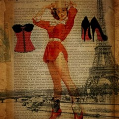Vintage Newspaper Print Sexy Hot Gil Elvgren Pin Up Girl Paris Eiffel Tower Western Country Naughty  Canvas 12  x 12  (Unframed)