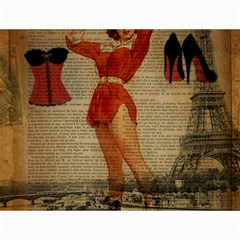 Vintage Newspaper Print Sexy Hot Gil Elvgren Pin Up Girl Paris Eiffel Tower Western Country Naughty  Canvas 12  x 16  (Unframed)