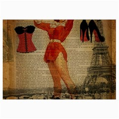 Vintage Newspaper Print Sexy Hot Gil Elvgren Pin Up Girl Paris Eiffel Tower Western Country Naughty  Canvas 12  x 18  (Unframed)