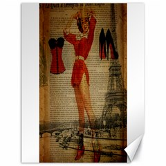 Vintage Newspaper Print Sexy Hot Gil Elvgren Pin Up Girl Paris Eiffel Tower Western Country Naughty  Canvas 18  X 24  (unframed)