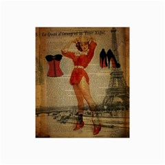 Vintage Newspaper Print Sexy Hot Gil Elvgren Pin Up Girl Paris Eiffel Tower Western Country Naughty  Canvas 20  x 30  (Unframed)