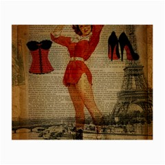 Vintage Newspaper Print Sexy Hot Gil Elvgren Pin Up Girl Paris Eiffel Tower Western Country Naughty  Glasses Cloth (Small, Two Sided)