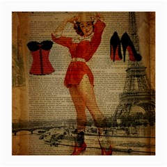 Vintage Newspaper Print Sexy Hot Gil Elvgren Pin Up Girl Paris Eiffel Tower Western Country Naughty  Glasses Cloth (Medium, Two Sided)