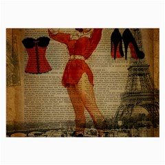 Vintage Newspaper Print Sexy Hot Gil Elvgren Pin Up Girl Paris Eiffel Tower Western Country Naughty  Glasses Cloth (Large, Two Sided)
