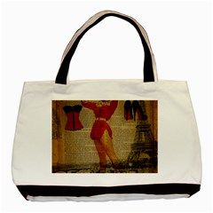 Vintage Newspaper Print Sexy Hot Gil Elvgren Pin Up Girl Paris Eiffel Tower Western Country Naughty  Twin-sided Black Tote Bag