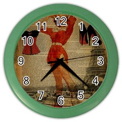 Vintage Newspaper Print Sexy Hot Gil Elvgren Pin Up Girl Paris Eiffel Tower Western Country Naughty  Wall Clock (Color)