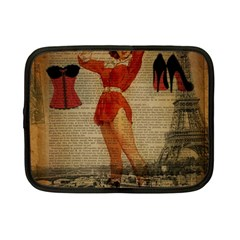 Vintage Newspaper Print Sexy Hot Gil Elvgren Pin Up Girl Paris Eiffel Tower Western Country Naughty  Netbook Case (Small)