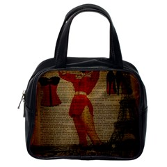 Vintage Newspaper Print Sexy Hot Gil Elvgren Pin Up Girl Paris Eiffel Tower Western Country Naughty  Classic Handbag (One Side)