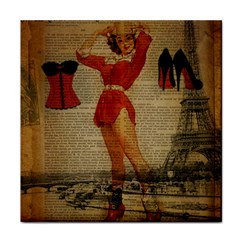 Vintage Newspaper Print Sexy Hot Gil Elvgren Pin Up Girl Paris Eiffel Tower Western Country Naughty  Face Towel
