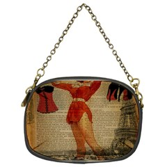 Vintage Newspaper Print Sexy Hot Gil Elvgren Pin Up Girl Paris Eiffel Tower Western Country Naughty  Chain Purse (One Side)