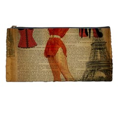 Vintage Newspaper Print Sexy Hot Gil Elvgren Pin Up Girl Paris Eiffel Tower Western Country Naughty  Pencil Case