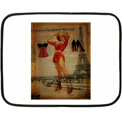 Vintage Newspaper Print Sexy Hot Gil Elvgren Pin Up Girl Paris Eiffel Tower Western Country Naughty  Mini Fleece Blanket (Two Sided)