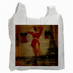 Vintage Newspaper Print Sexy Hot Gil Elvgren Pin Up Girl Paris Eiffel Tower Western Country Naughty  Recycle Bag (two Sides)